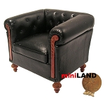 English style leather black chair 92601BK for dollhouse miniature 1:12 scale