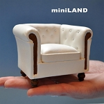 English style leather white chair 92601wh 1:12 scale