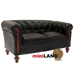 English style leather black love seat sofa