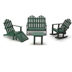 Economy Set Green Adirondack Furniture 5 pcs. 1:12 scale dollhouses miniature
