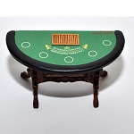 Blackjack cards Casino play game room Dollhouse miniature 1:12 (Table only)