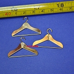 3 DOLLHOUSE miniatures Clothes Hangers Brass metal 1:12