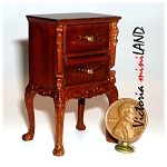Side Table / Bedstand Dollhouse miniature 1:12Walnut