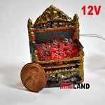 Fire Grate For The Fireplace Dollhouse 12v Glowing Embers light miniature 01 1:12 scale