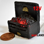 Fire Grate For The Fireplace Dollhouse 12v Glowing Embers light miniature 02 1:12 scale