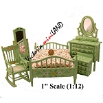 Economic 5 Five-Piece Bedroom Set Green MF9905 for dollhouse 1:12 scale