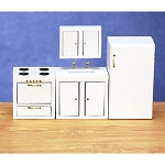 4 Pcs. Economy MODERN KITCHEN Set for Dollhouse 1:12 miniature wood