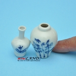 White Glaze Vase  with flower 2 Pcs. PW-V101 dollhouse miniature 1:12 scale