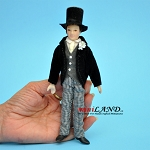 Gentleman groom Porcelain doll  in Jacket and Vest 6