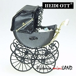 XZ106 Heidi Ott DollHouse miniature 1:12 quality Victorian antique Pram grey