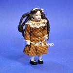 XC014 Heidi Ott Dolls House Doll, Young Girl in Multi Coloured Dress.