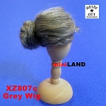 XZ807C Heidi Ott grey Wig Doll House Miniature Hair hairstyle 1:12