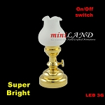 Large brass Tulip  Table Lamp LED Super bright with On/off switch for 1:12 dollhouse miniature