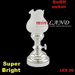 Large silver Tulip  Table Lamp LED Super bright with On/off switch for 1:12 dollhouse miniature