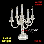 Silver Candelabra 5 arms LED Super bright with On/off switch