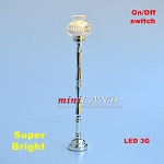 Silver Floor Lamp LED Super bright with On/off switch 1:12 scale