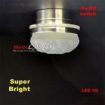 Ceiling lamp  frosted shade LED Super bright with On/off switch  Silver 1:12 dollhouse miniature