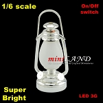 1:6 scale Silver oil lamp  LED Super bright with On/off switch