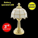 White brass Tiffany lamp LED Super bright with On/off switch