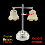 Silver Modern table Lamp  LED Super bright with On/off switch 1:12 scale