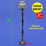 Black Floor Lamp LED Super bright with On/off switch 1:12 scale