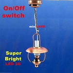 Hanging Copper oil lamp LED Super bright with On/off switch  1:12 dollhouse miniature