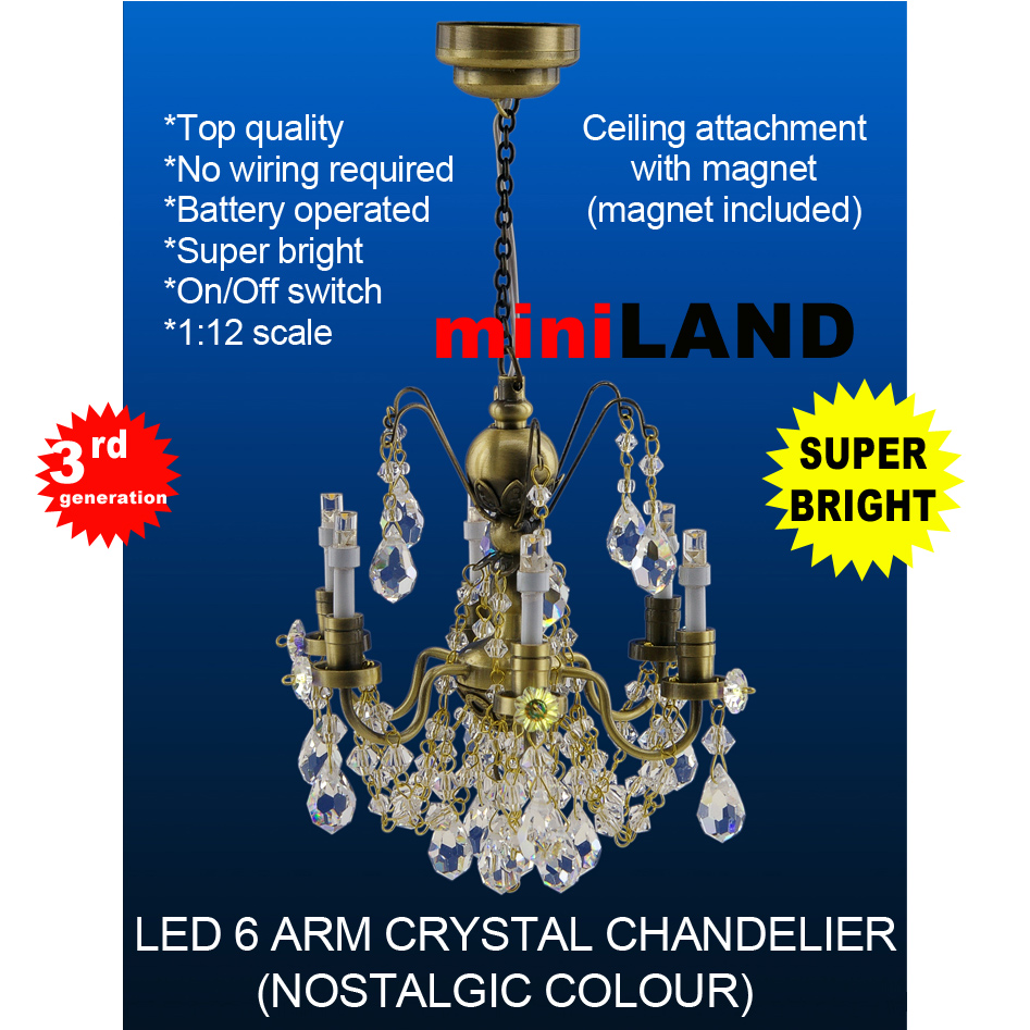 Crystal Nostalgia Chandeliers 6 Arms Led Super Bright With On Off Ceiling Light No Wiring Quick View