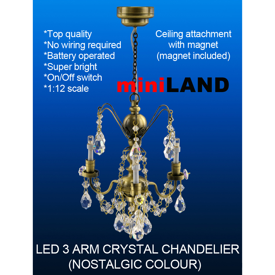 Crystal Nostalgia Chandeliers 3 Arms Led Super Bright With On Off Ceiling Light No Wiring Quick View