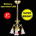 3-Arm Tulip brass Chandelier LED Super bright with On/off switch 1:12 dollhouse miniature