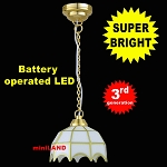 White Tiffany hanging lamp LED Super bright with On/off switch 1:12 scale