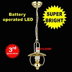 Hanging brass oil lamp LED Super bright with On/off switch for 1:12 dollhouse miniature