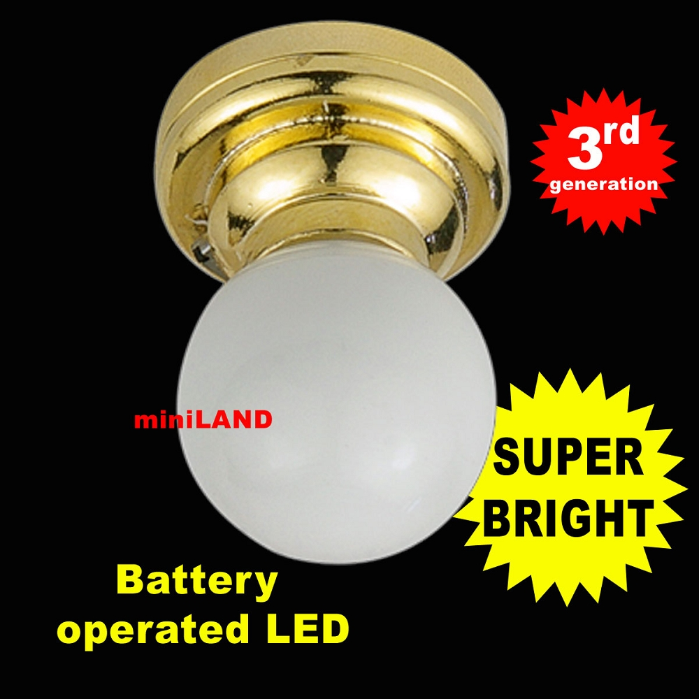 Stotta Led Ceiling Or Wall Lamp Battery Operated White : Brass Ceiling lamp white globe LED Super bright with On/off switch