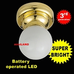 Brass Ceiling lamp white globe LED Super bright with On/off switch 1:12 dollhouse miniature