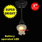Black Lg Frost Tulip Ceiling Lamp LED Super bright with On/off switch 1:12 scale