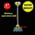 Colored Tiffany hanging lamp LED Super bright with On/off switch 1:12 scale