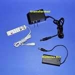 Batteries Box, transformer 3v + short Power bar for LED lights (Option)