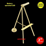 Gold (brass) easel LED Super bright with On/off switch for 1:12 dollhouse miniature