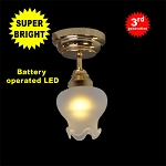 Brass Sm Frost Tulip Ceiling Lamp LED Super bright with On/off switch for 1:12 dollhouse miniature