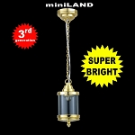 Brass birdcage hanging lamp LED Super bright with On/off switch for 1:12 dollhouse miniature