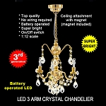 Crystal gold chandeliers, 3 arms, LED Super bright with On/off switch 1:12 scale