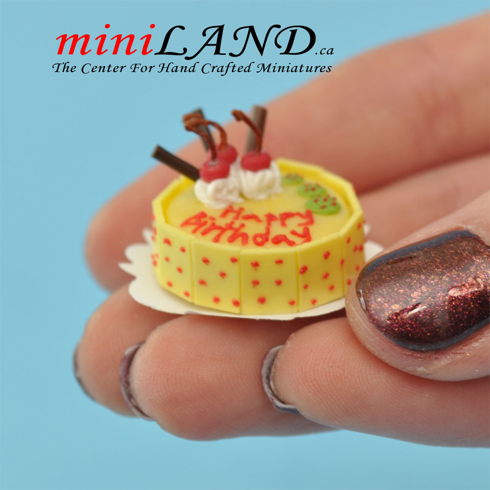 Tremendous A Fancy Birthday Cake For 1 12 Dollhouse Miniature Food Funny Birthday Cards Online Alyptdamsfinfo