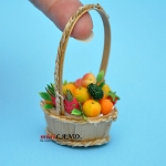 Colorful fruit basket in basket with long handle dollhouse miniature 1:12 scale