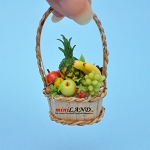 Colourful fruit basket in basket with  handle dollhouse miniature  1:12 scale