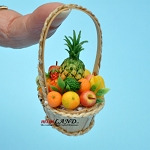 Fruit basket in basket with  handle dollhouse miniature 1:12 scale