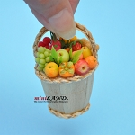 Beautiful fruit basket with short handle dollhouse miniature 1:12 scale