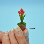 Red Tulips in Terracotta Pot Flowers Dollhouse Miniatures  Handmade