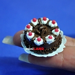 Black Forest chocolate cake 1:12 dollhouse miniature handmade food Bakery S071