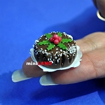 Christmas Chocolate cake 1:12 dollhouse miniature handmade Bakery food S65