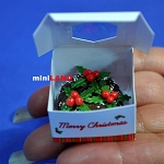 Christmas Chocolate cake with box 1:12 dollhouse miniature handmade Bakery S177