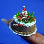 Christmas Chocolate cake 1:12 dollhouse miniature handmade Bakery food S180
